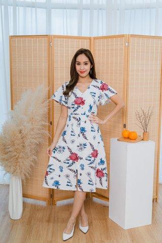 Trina Roses White Midi Dress