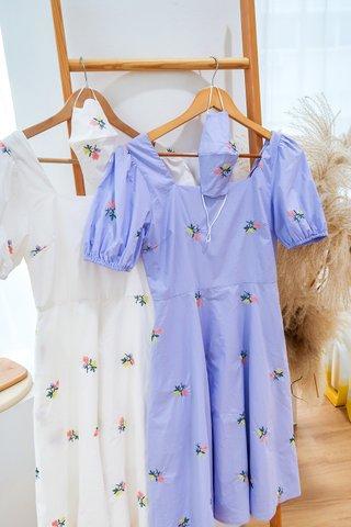 Clarissa Embroidery Square Neckline Dress In White