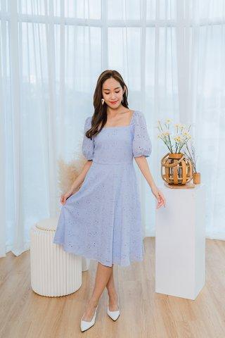 Julia Eyelet Square Neckline Dress In Sky Blue