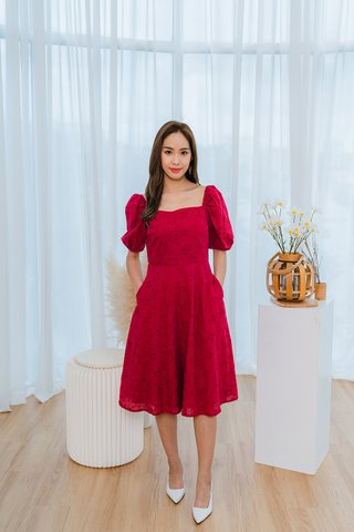 Julia Eyelet Square Neckline Dress In Red