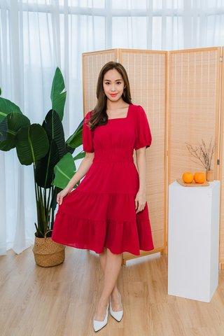 Sophia Sleeve Square Neckline Dress In Red