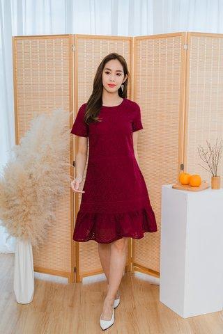 Belinda Eyelet Dropwaist Dress In Wine Red