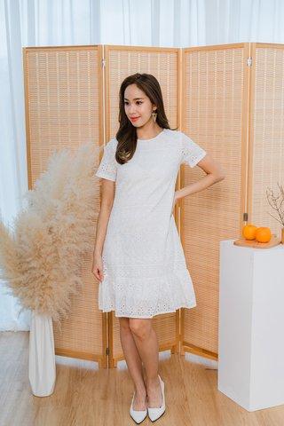 Belinda Eyelet Dropwaist Dress In White