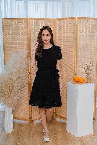 Belinda Eyelet Dropwaist Dress In Black