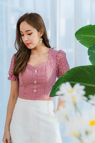 Ruth Button Eyelet Top In Tea Rose