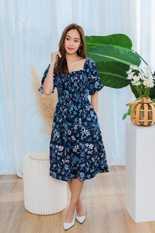 Christine Smocked Floral Sleeve Dress In Blue
