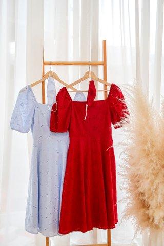 Julia Eyelet Square Neckline Dress In Red