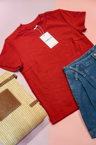Melody Basic Knit Top In Red