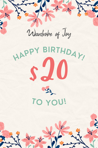 $20 WOJ E-Gift Card (Happy Birthday)