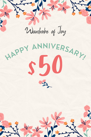 $50 WOJ E-Gift Card (Happy Anniversary)
