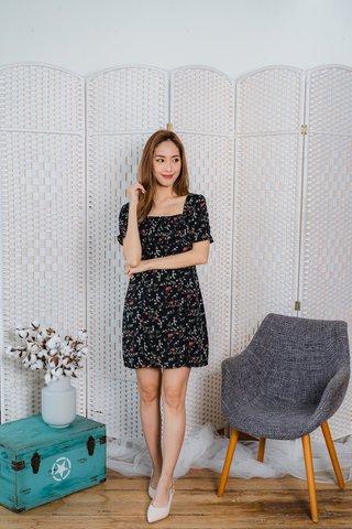 Hazel Spring Floral Dress In Black