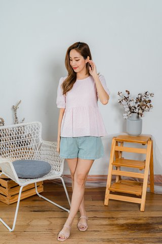 Rebecca Babydoll Textured Top In Pink