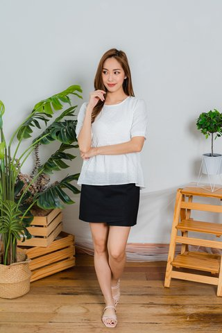Rebecca Babydoll Textured Top In White