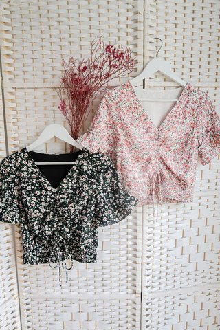 Angelica Floral Ruched Tie Top In Black