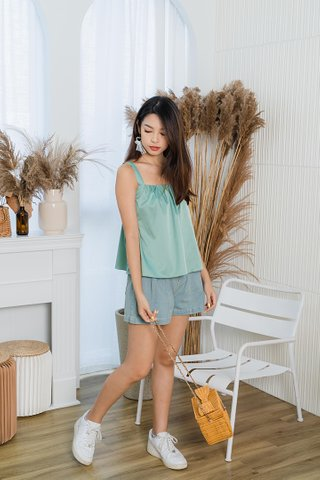 Alanna Gathered Tent Top In Sage Green
