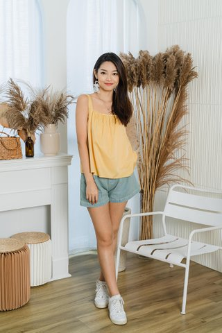 Alanna Gathered Tent Top In Yellow