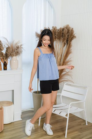 Alanna Gathered Tent Top In Blue