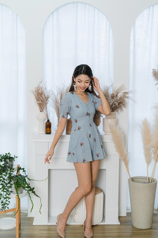 Dorian Eyelet Embroidery Romper In Blue Grey