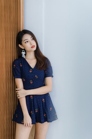 Dorian Eyelet Embroidery Romper In Navy