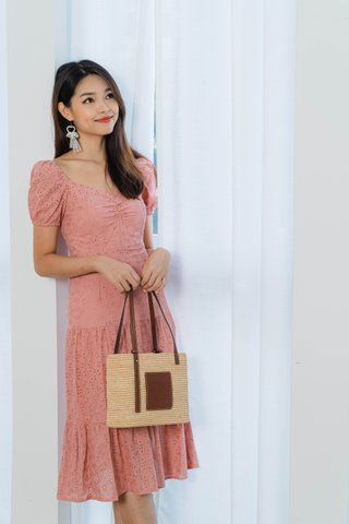 Motley Eyelet Midi Dress In Dusty Pink