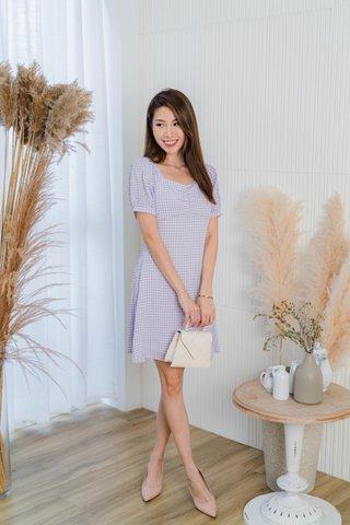 Happy Sunshine Gingham Dress In Lavender