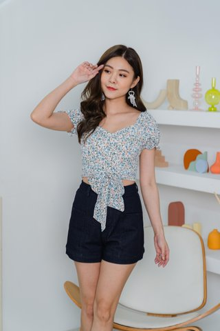 Sheila Floral Top With Sash In Blue