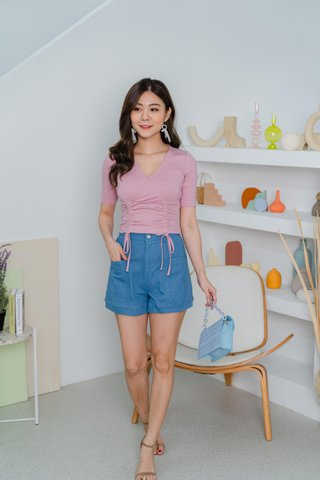 Taylor Double Ruched Top In Pink