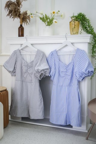 Isabella Puffy Sleeve Gingham Romper In Blue