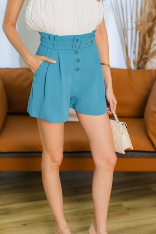 Hadley Paperbag Belted Shorts In Teal Blue