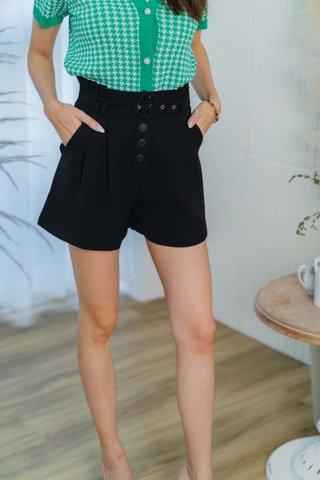 Hadley Paperbag Belted Shorts In Black