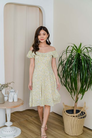 Maisie Off Shoulder Pearl Floral Dress In Yellow