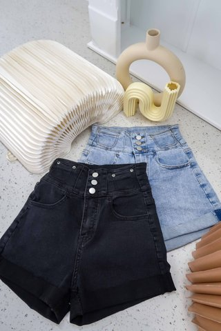 Fawn High Waist Buttons Shorts In Black Denim