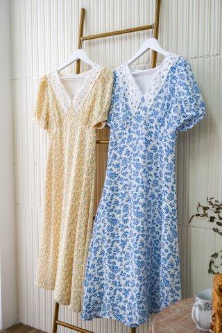 Tilda Floral Collar A-Line Dress In Blue