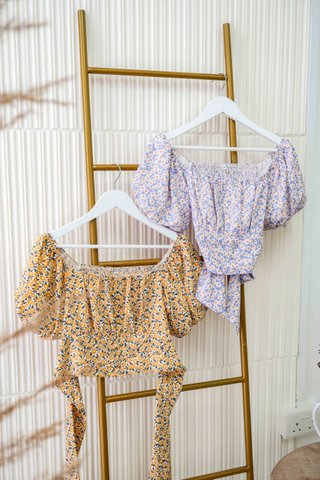 Bridget Sunflower Back Tie Top In Lavender
