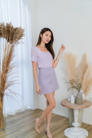 Kyla Gingham Skorts In Lavender