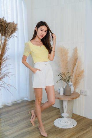 Shana Eyelet Crop Top In Sunshine Yellow