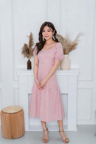 Felicia Sleeve Gingham Midi Dress In Pink