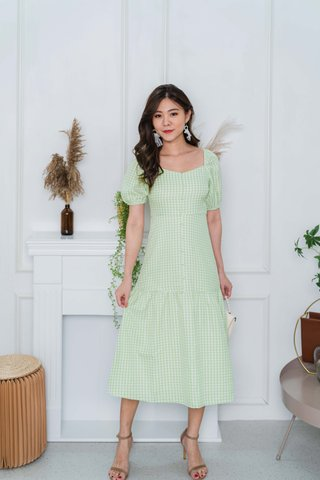 Felicia Sleeve Gingham Midi Dress In Apple Green