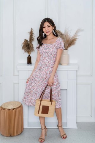Camille Ruched Floral Midi Dress In Pink