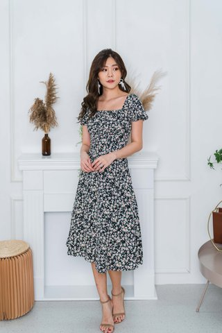 Camille Ruched Floral Midi Dress In Black