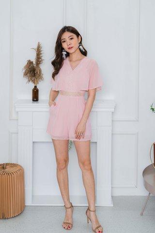Diana Lace Trim Romper In Baby Pink
