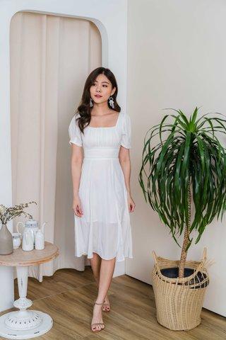 Shana Crochet Waist Midi Dress In White