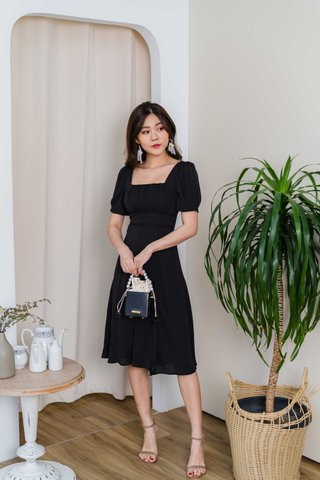 Shana Crochet Waist Midi Dress In Black