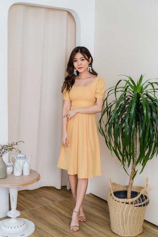 Shana Crochet Waist Midi Dress In Mustard Yellow