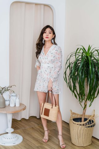 Clarissa Floral Long Sleeve Romper In White