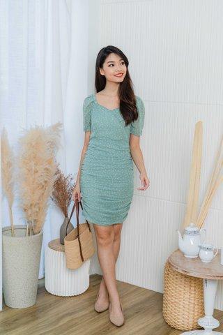 Valda Ruched Polka Dot Dress In Sage Green