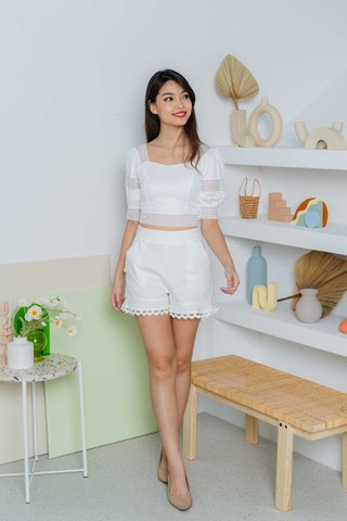 Paige Trimming Detailed Top In White