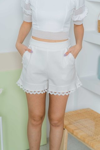 Paige Crotchet Trimming Shorts In White