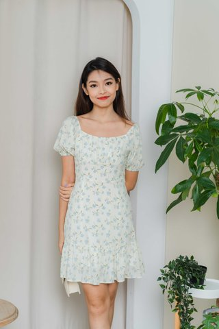Selena Ruched Floral Dress In Cream