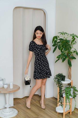 Selena Ruched Floral Dress In Black